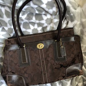 Coach brown leather large classic satchel purse